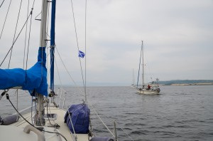 Our Scottish flag as we approach Clachnaharry lock.
