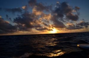 First sunset, Celtic Sea.